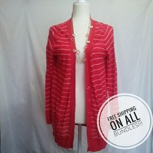 Large Coral a.n.a. striped cardigan